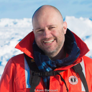 Koen Blanquart while on the Canadian ice, looking for Harp Seals.