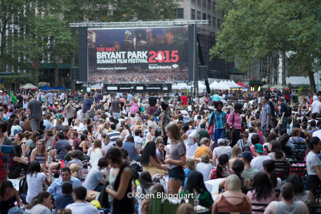 The movies in Bryant Park are a mass event