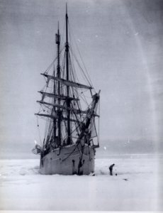 The Belgica stuck in the ice on Antarctica (