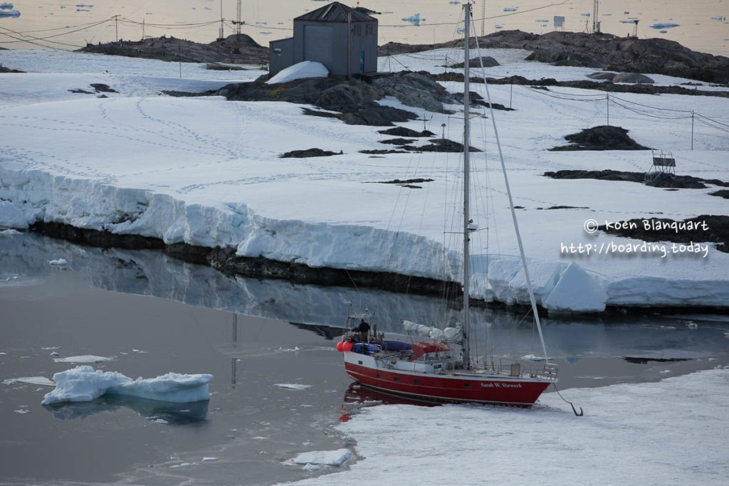 The Sarah Vorwerk, parked in the sea ice near Vernadsky base on Antarctica - Koen Blanquart
