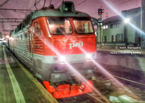 The first of many locomotives we'd have between Moscow and Yekaterinburg