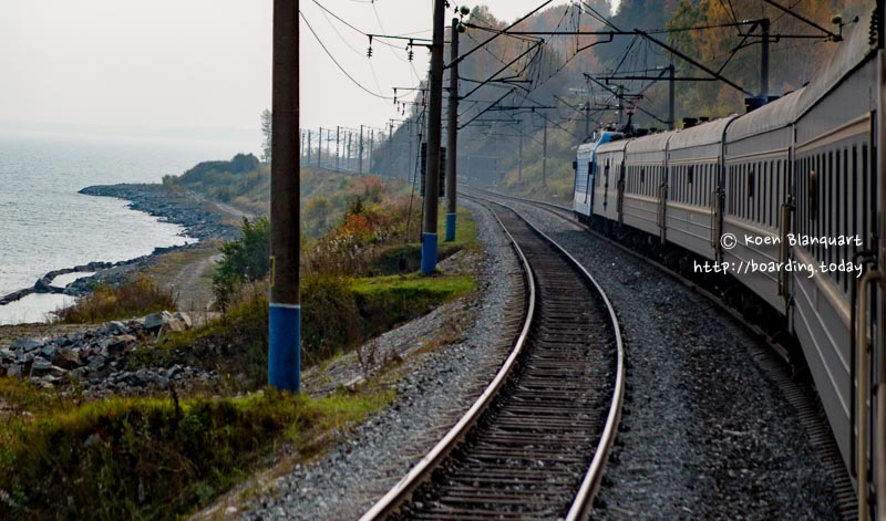 The Trans Siberian train at the Baikal Lake