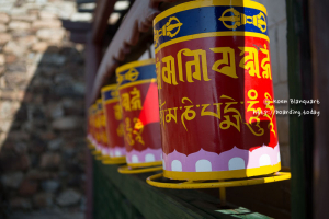 Prayer wheel in a Buddhist temple in Mongolia