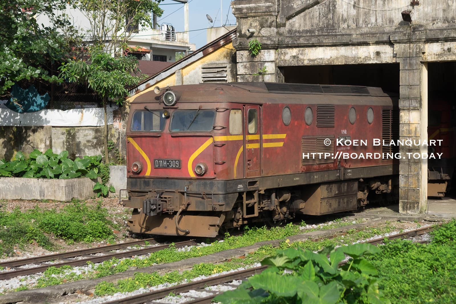 An older locomotive near the railway station of Hue, Vietnam
