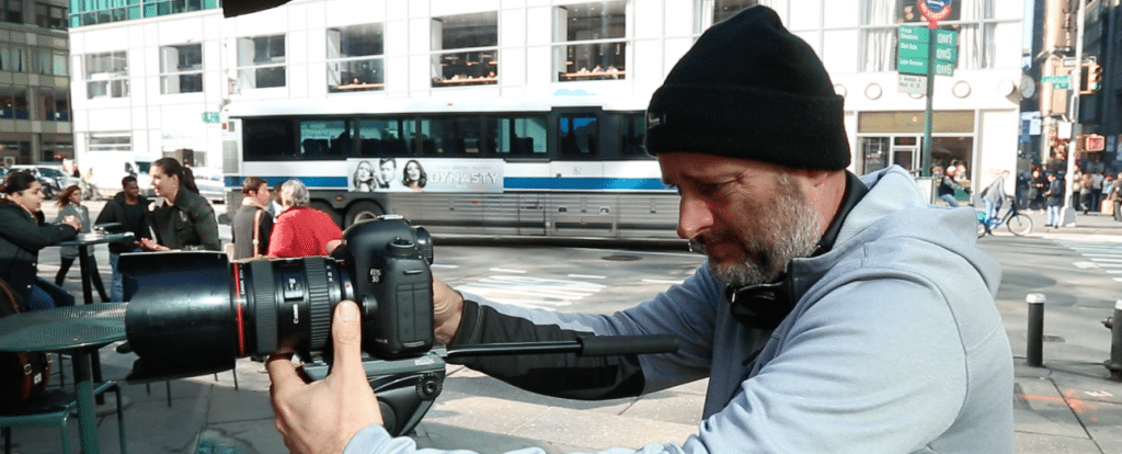 Koen Blanquart taking pictures in New York
