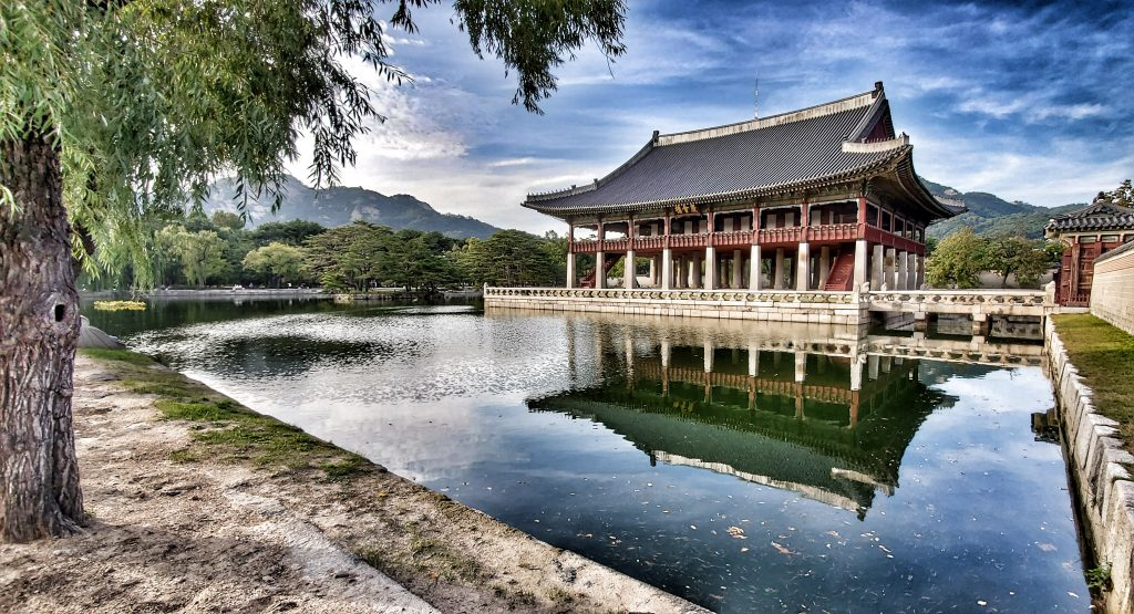 Korean Castle surrounded by water