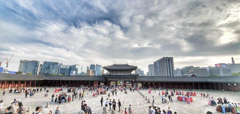 Gyeongbokgung Palace and Seoul Skyline