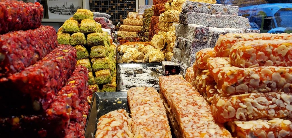 Turkish sweets in a bakery in Istanbul
