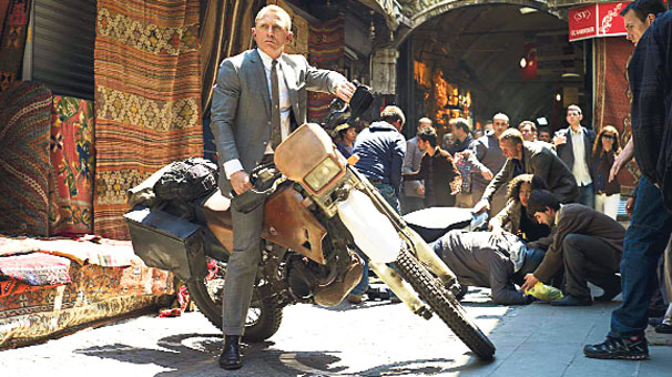 James bond on a motor cycle at the entrance of the Grand Bazaar, Istanbul