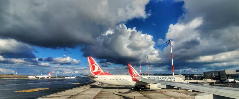 Airplanes of Turkish airlines at IST Istanbul airport