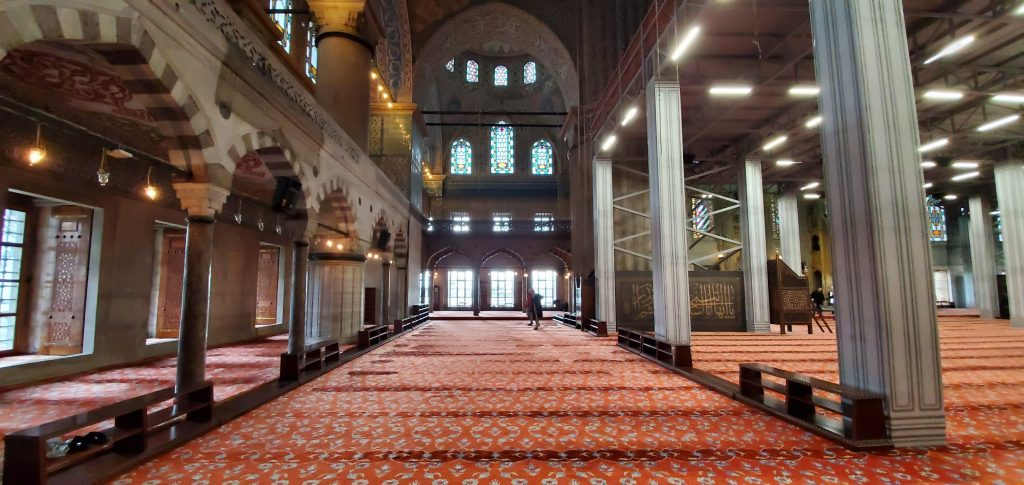 Inside the Blue Mosque during a visit in Istanbul
